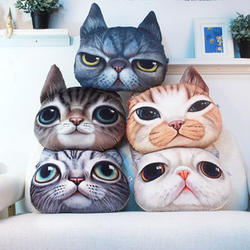 Creative Cartoon 3D Cute Plush Cat Head Shape Throw Pillow Car Sofa Chair Back Cushion Lovely decorative pillow Christmas Gift