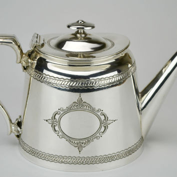 Silver Plated Engraved Coffee or Teapot Antique English 19th Century