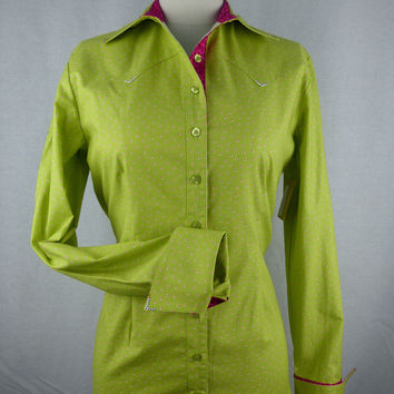 Women's Lime Green Dot with Hot Pink Cuff Western Shirt