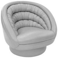 """Crescent Swivel Chair"" in Gray Hermes Leather by Vladimir Kagan"