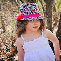 Fedora Hat Black Floral with Hot Pink Flower