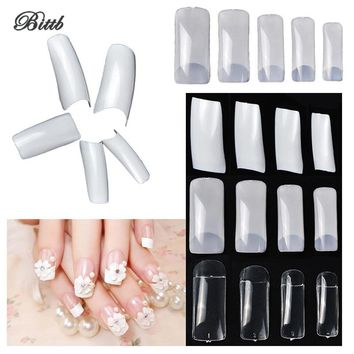 Bittb 100pcs DIY Natural French False Nails Manicure Nail Extension Decoration Tools Art Plastic Fake Nails For Beauty Salon Spa