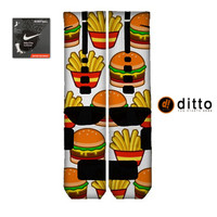 Nike Elite Custom Socks BURGER FRIES Design By Ditto! FAST Shipping With Free Order Tracking