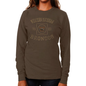 Western Michigan Broncos Ladies University Lockup Long Sleeve Slim Fit T-Shirt - Brown