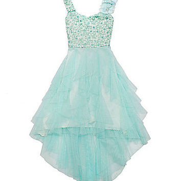 Tween Diva 7-16 Sequin-Embellished-Bodice Mesh Dress - Mint