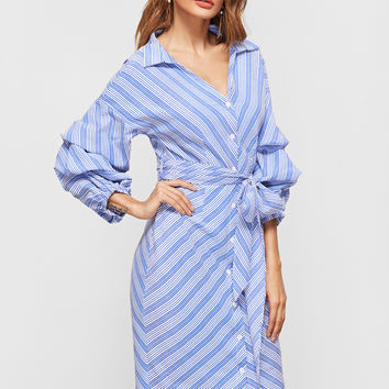 Blue And White Billow Sleeve Chevron Striped Dress