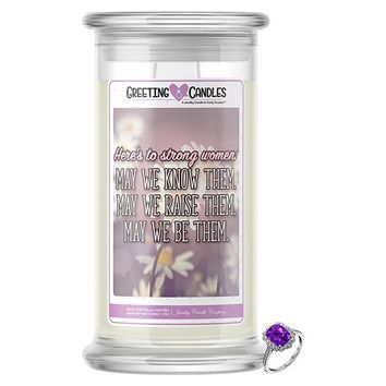 Here's To Strong Women Mother's Day Jewelry Greeting Candle