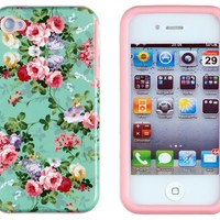 DandyCase 2in1 Hybrid High Impact Hard Vintage Sea Green Floral Pattern + Pink Silicone Case Cover For Apple iPhone 4S & iPhone 4 + DandyCase Screen Cleaner