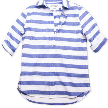 Hera, White Cotton Blue Horizontal Stripe Shirt