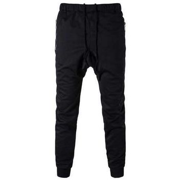 Zip Pocket Drop Crotch Drawstring Jogger Pants - Black 3xl