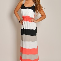 Sleeveless Coral Colorblock Stripe Maxi Dress