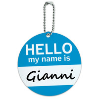 Gianni Hello My Name Is Round ID Card Luggage Tag