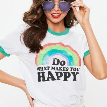 Missguided - White Rainbow Slogan Ringer T-Shirt