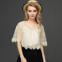 Vintage Gatsby Women Cardigan Coat Half Flare Sleeve V Neck Embroidery Floral Grid Lace Cardigan Short Cape Shawl