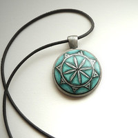 Trendy Jade Green Necklace Choker Pendant Necklace, Tiny Art, Miniature Painting, Hand Painted,  Leather Cord Jewelry