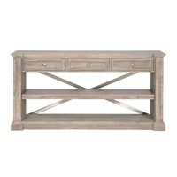 Hudson Dining Console Natural Gray, Brushed Stainless Steel