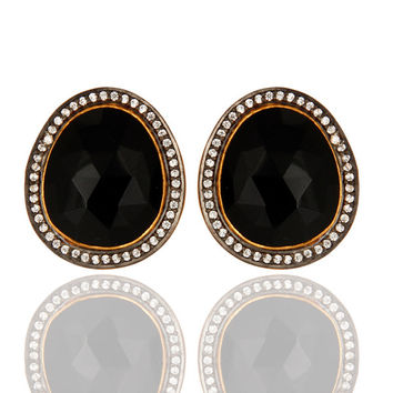 Natural Black Onyx Faceted Gemstone Stud Earrings In 14K Yellow Gold Over Silver