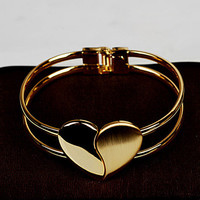 Heart Split Row Fashion Stylish Jewellery Bracelet Bangle_ 1289
