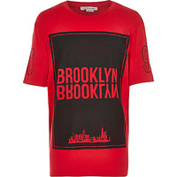River Island Boys red Brooklyn print short sleeve t-shirt