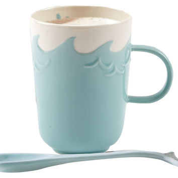 Splish Splash Mug with Porcelain Whale Tail Spoon Stirrer