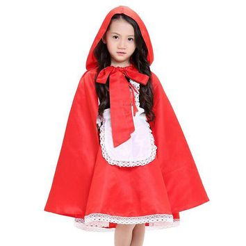 ONETOW new arrival children girl Little Red Riding Hood cosplay dress princess halloween costume DS clothing