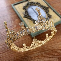 Baroque Vintage Men Large Gold Color Crystal Full Round Prom King Crown Wedding Pageant Queen Tiara Bridal Hair Jewelry Diadem