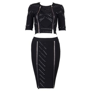 Black Beaded Studded Bandage Skirt Set