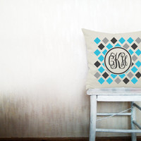 Custom monogrammed pillow geometrical decorative throw pillow monogram pillow chevron beige cotton letter pillow case 18x18 inches ohtteam