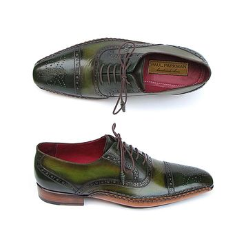 Paul Parkman Men's Side Handsewn Captoe Oxfords Green / Yellow Shoes (Id#5032)