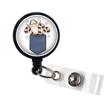 Snowman Retractable ID Badge Holder-ID Badge Reel, winter, gift, candy canes, ID badge, gift