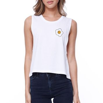 Fried Egg Pocket Crop Tee Cute Sleeveless Shirt Junior Tank Top