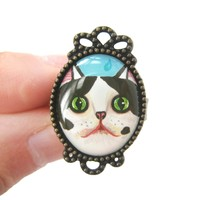 Black and White Bicolor Kitty Cat Illustrated Adjustable Ring | Animal Jewelry