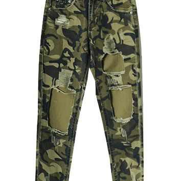 Camouflage High Waist Ripped Cropped Jeans