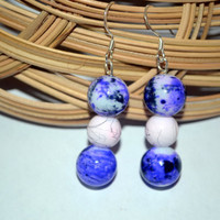 Earrings Blue Porcelain and White Spackle Beads