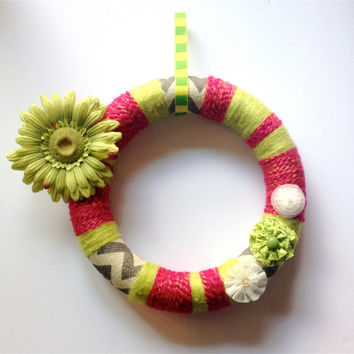 Lime Green and Pink Wreath, Burlap and Yarn Wreath, Flower Wreath, Summer Decor