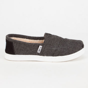 Toms Black Wool Herringbone Classic Kids Slip-Ons Black  In Sizes