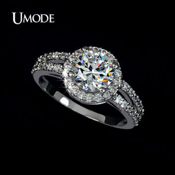 UMODE Wedding Rings White Gold Plated Jewelry For Women 2 Carat AAA+ Cubic Zirconia 2 Bands Vintage Halo Engagement Rings UR0021