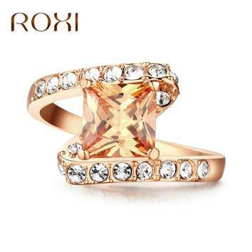 ROXI Trendy Rings for Women Engagement Wedding Ring Rose Gold Cubic Zirconia CZ Rings Bagues Femme Fashion Jewelry