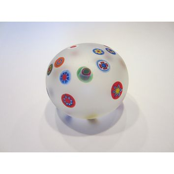 Murano Opaline Paperweight Millefiori Glass Cased Labeled Made in Italy