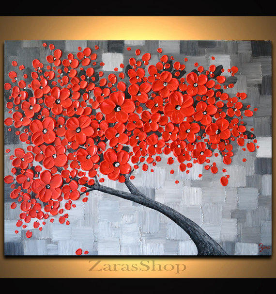 Red cherry blossom tree painting black from zarasshop on etsy for Cherry blossom mural works