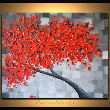 Red cherry blossom tree painting, black white gray landscape textured art, contemporary wall decor