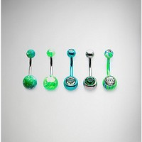 Green and Blue Belly Ring 5 Pack - 14 Gauge - Spencer's
