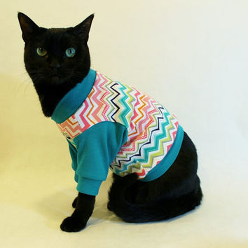 CoolCats Teal Chevron Knit Cat Shirt