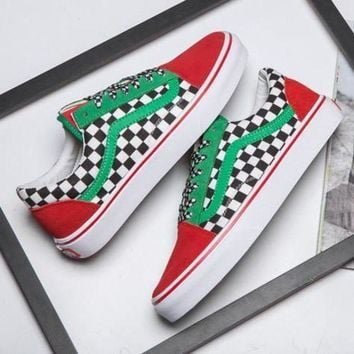 MDIGONS VANS Canvas Old Skool Checkerboard Flats Shoes Sneakers Sport Shoes