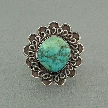 SIGNED Old Pawn Native American Turquoise Ring Vintage Navajo Artist ADAKAI / DRAPER Sterling Silver Large Flower 10.5 Grams, Size 8 c.1950s