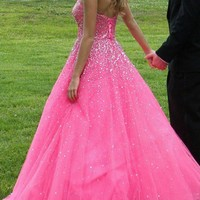 Prom Pageant Pink Long Dress