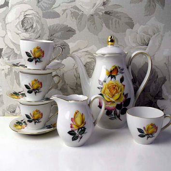 Vintage Small size/petite/ espresso/ demitasse Yellow Rose pattern Coffee set. Stamped 'Foreign' pattern number 40/96