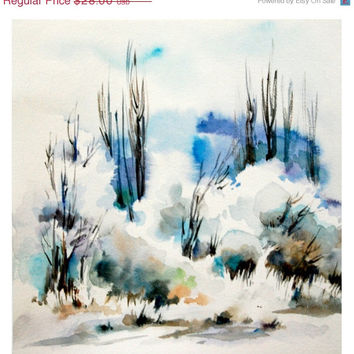 Holiday Sale Winter Landscape Art Print 12x12 from Original Watercolor Painting Abstract Modern Nature Watercolor Art
