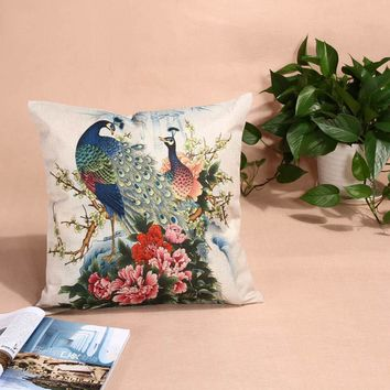 45* 45cm Multi Pattern Cushion Cover Peacock Elephant Cotton Linen Pillow Case Cushion Cover Home Decor office Cushion Covers