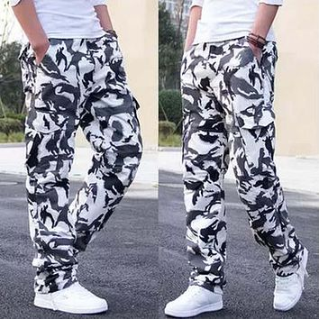 Spring Summer Men Long Pants Military Camouflage Cotton Joggers Casual Cargo Pants Loose Trousers With Pocket